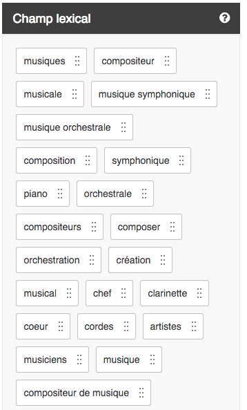 Corpus optimiz.me - suggestion de champ lexical