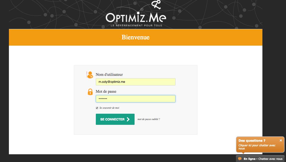 Connexion sur Optimiz.me