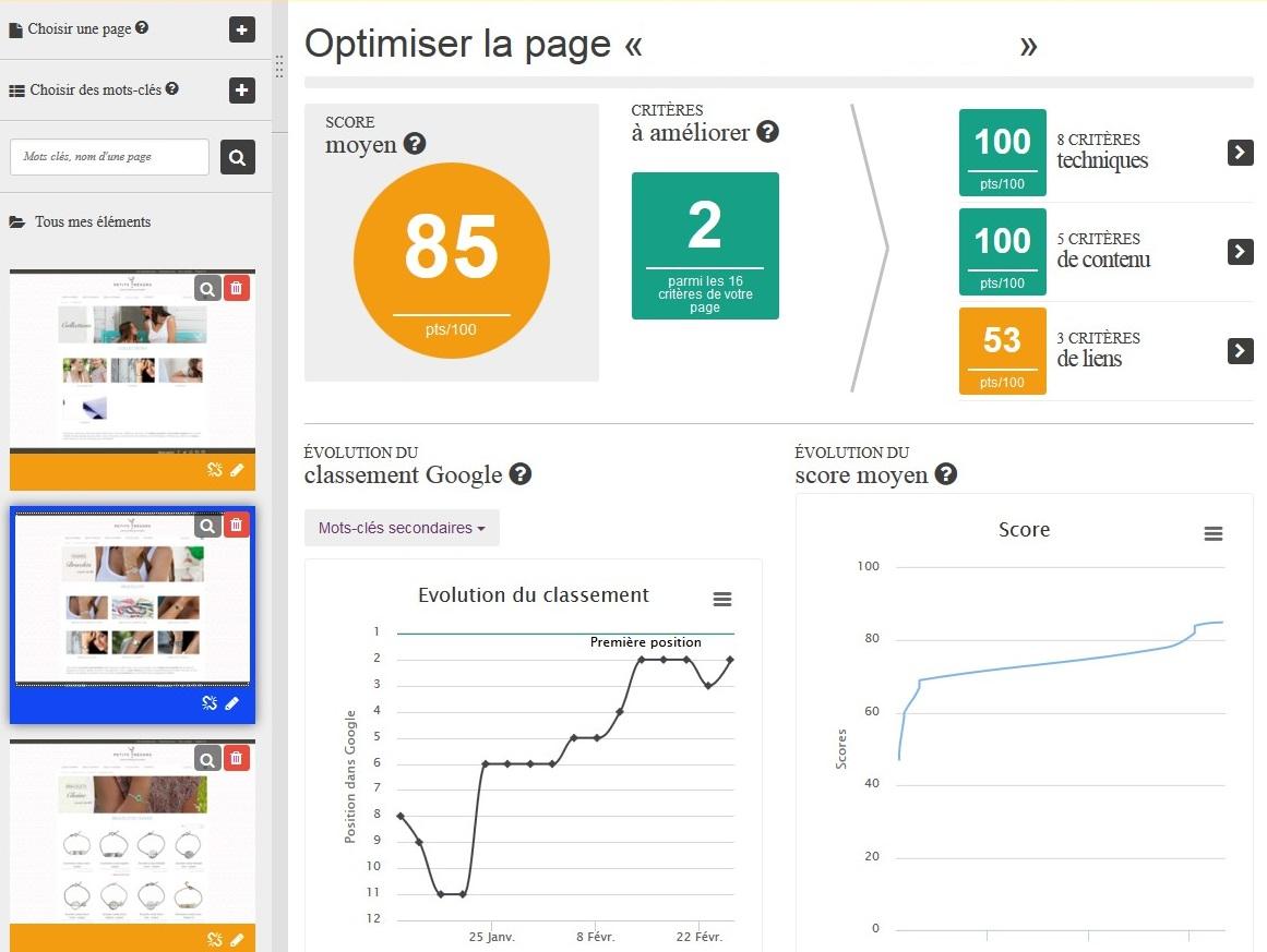 scores optimiz me site ecommerce