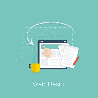 Web design development project vector concept with flat colors