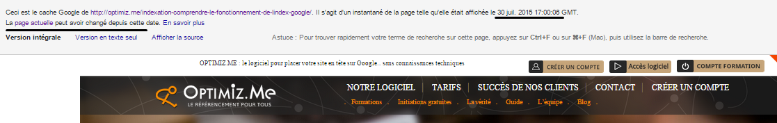 version cache google