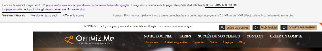 version cache google
