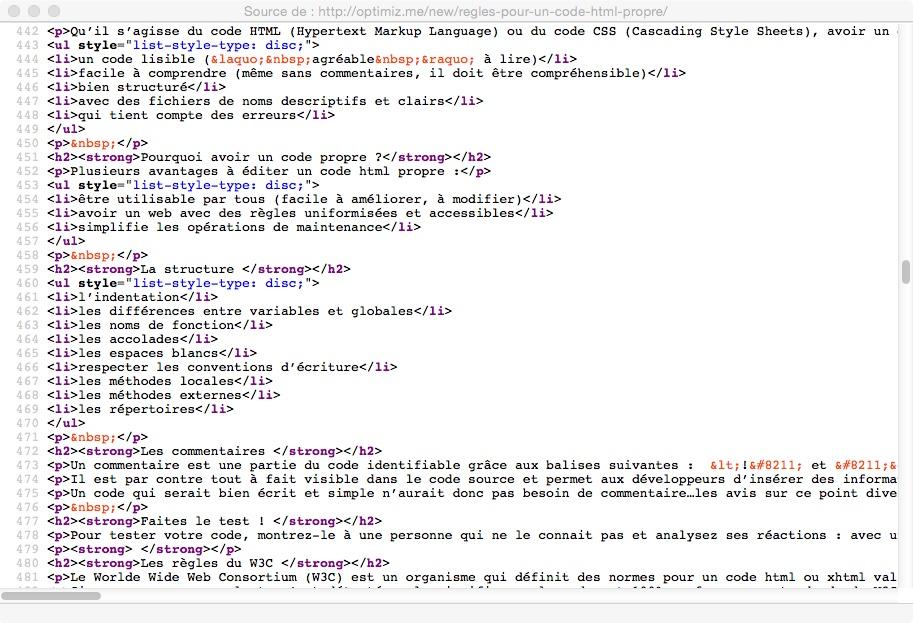 code HTML propre