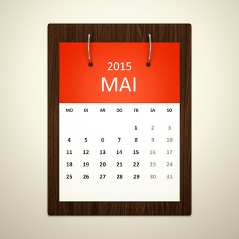 An image of a german calendar for event planning may 2015