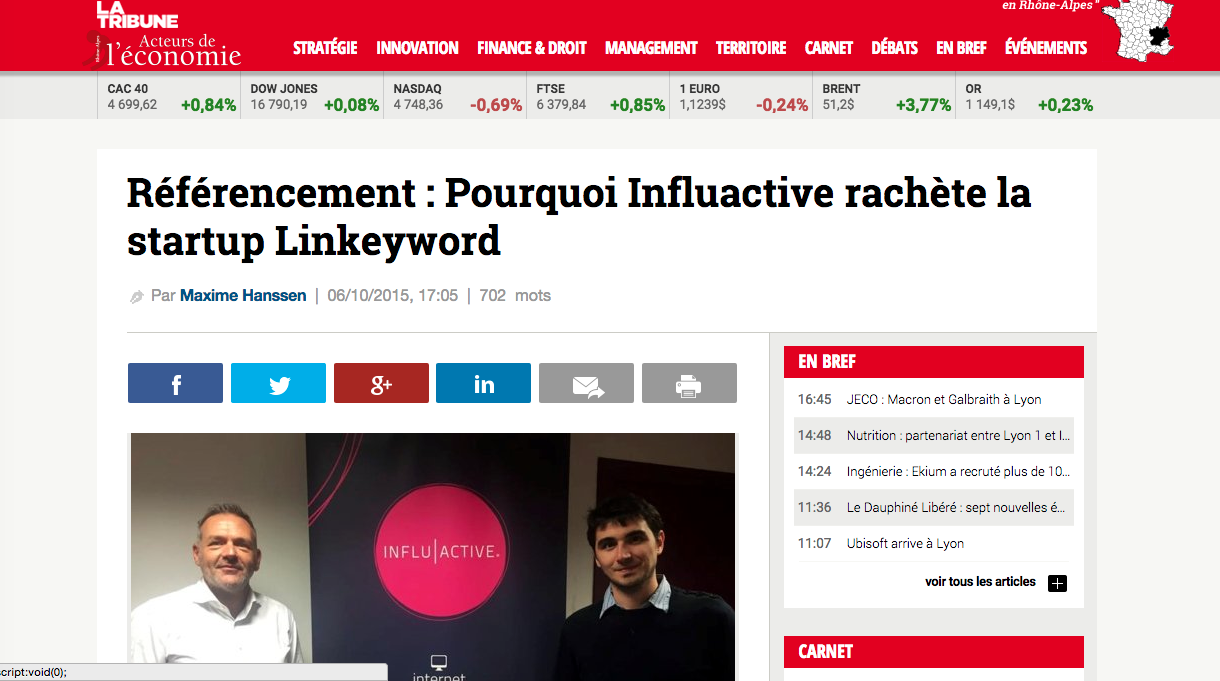 vente de Linkeyword à influactive