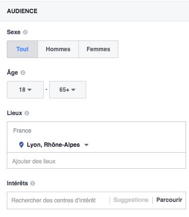 choisir audience publicité Facebook