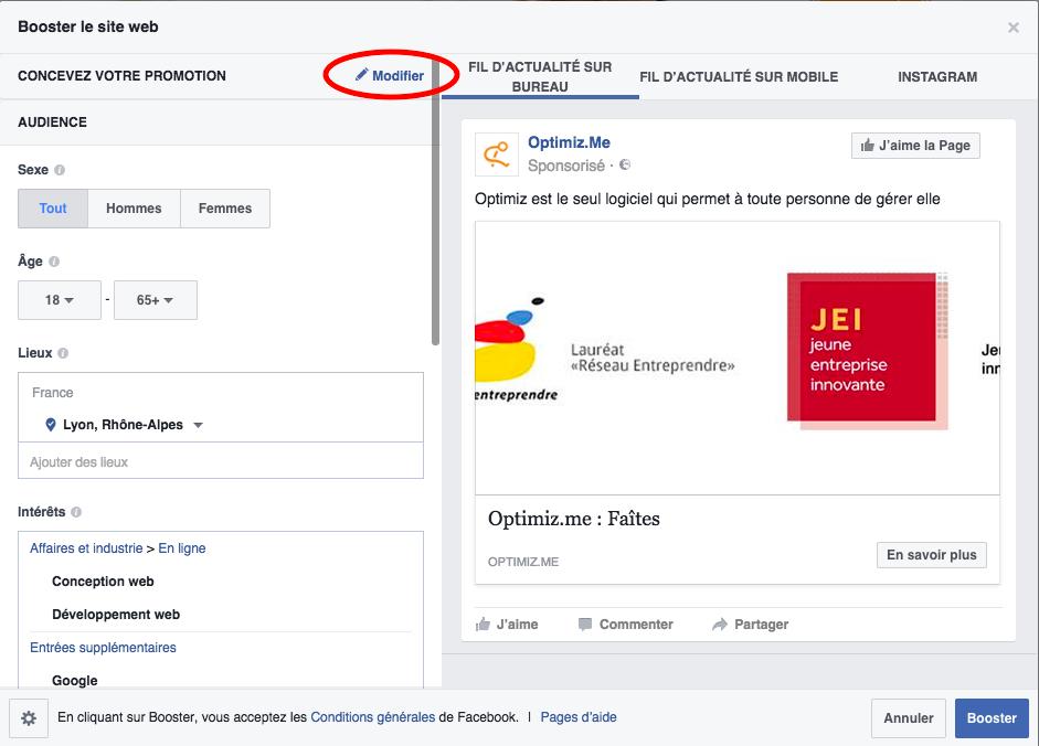 concevoir sa publicité Facebook
