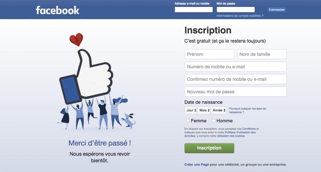 Landing page facebook