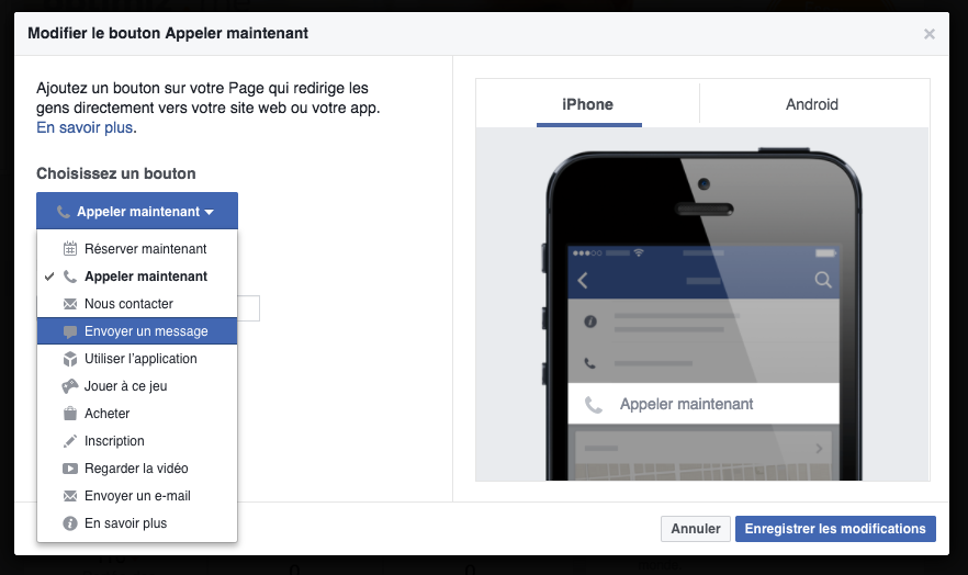 modifier call to action facebook