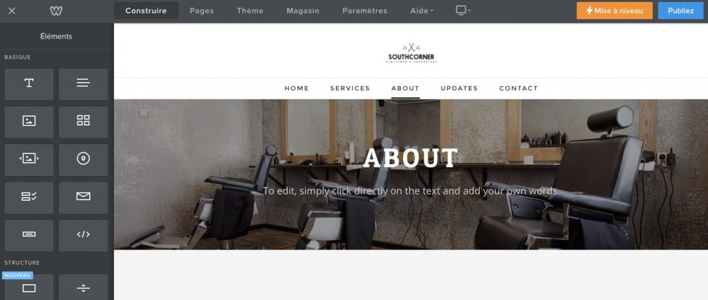 interface création site Weebly