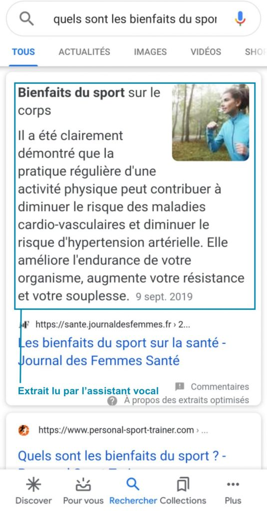 featured snippet recherche vocale