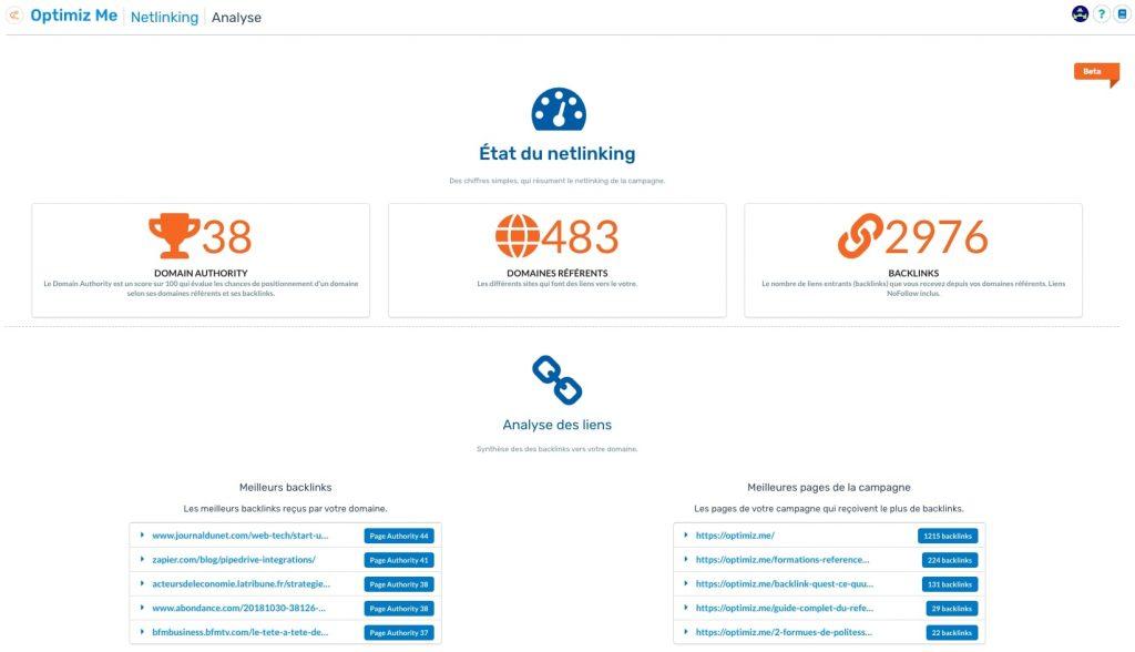 suivi du netlinking sur Optimiz SEO
